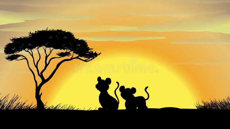 Tiger und Junges in einer schönen Natur stock abbildung