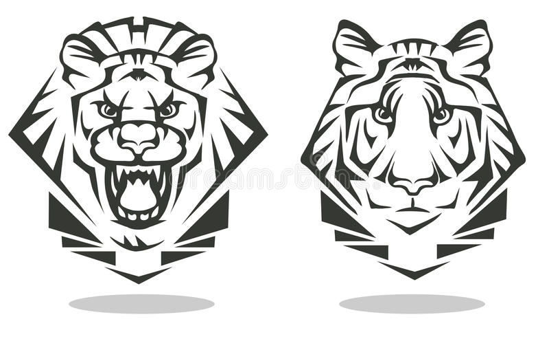 Tiger und Löwe stock abbildung