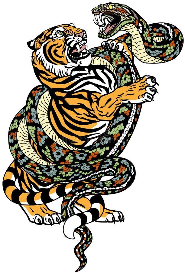 Free Tiger Versus Snake Tattoo Stock Images - 163435564