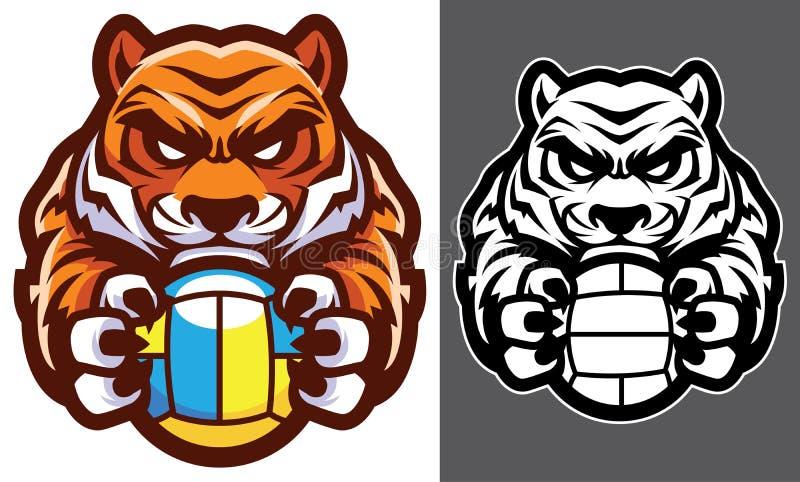 Tiger Volleyball Mascot illustration de vecteur