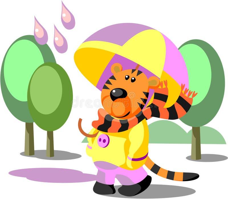 Tiger walking color 02 royalty free illustration