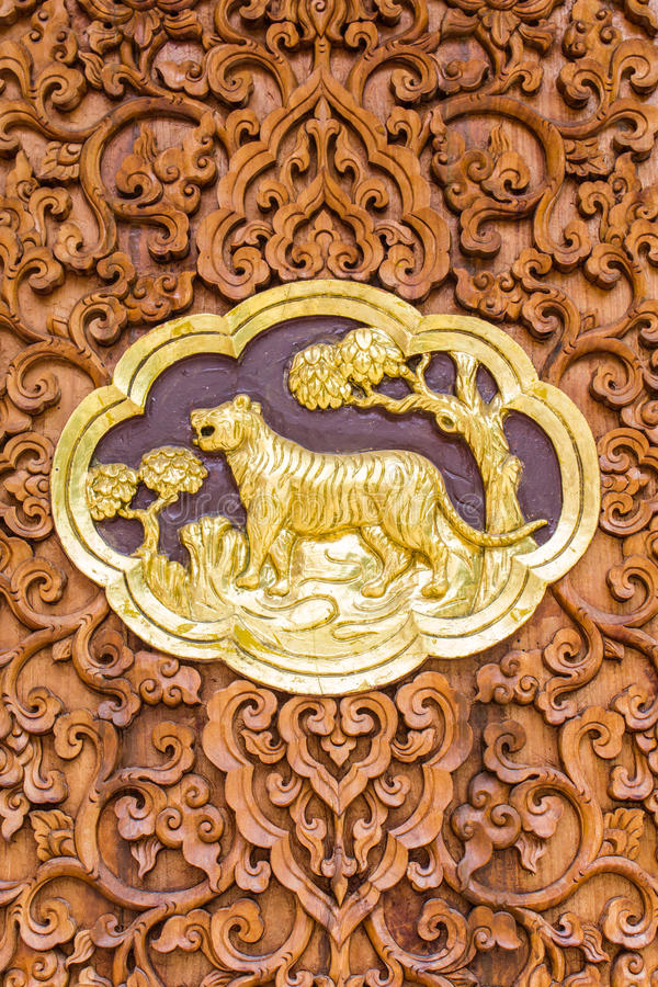 Tiger Wood Carving Wall Sculptures In Thai Temple Stock Photo ...