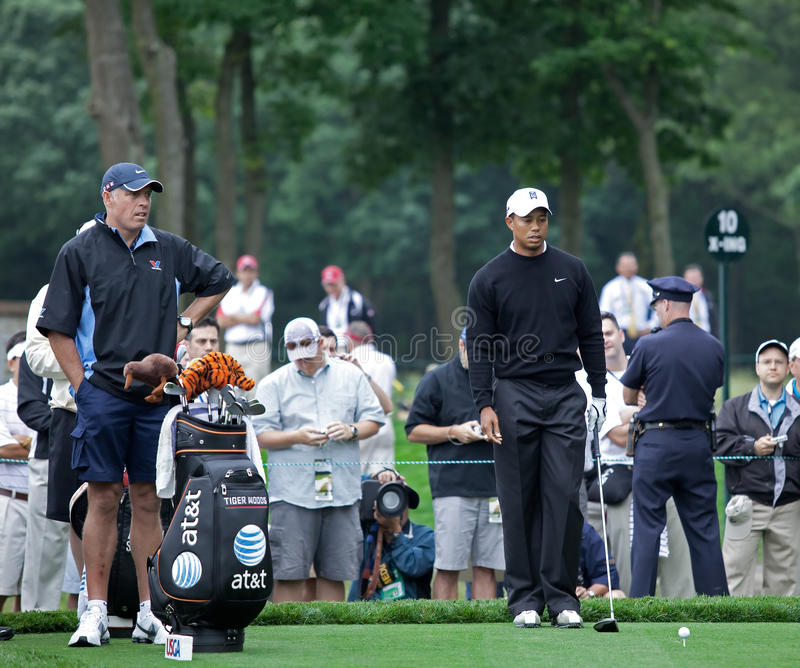 Tiger Woods. FARMINGDALE, , NY - JUNE 16: Tiger Woods visualizes his tee shot off the difficult 12th hole on the Black Course during the 2009 US Open on June 16 stock photos