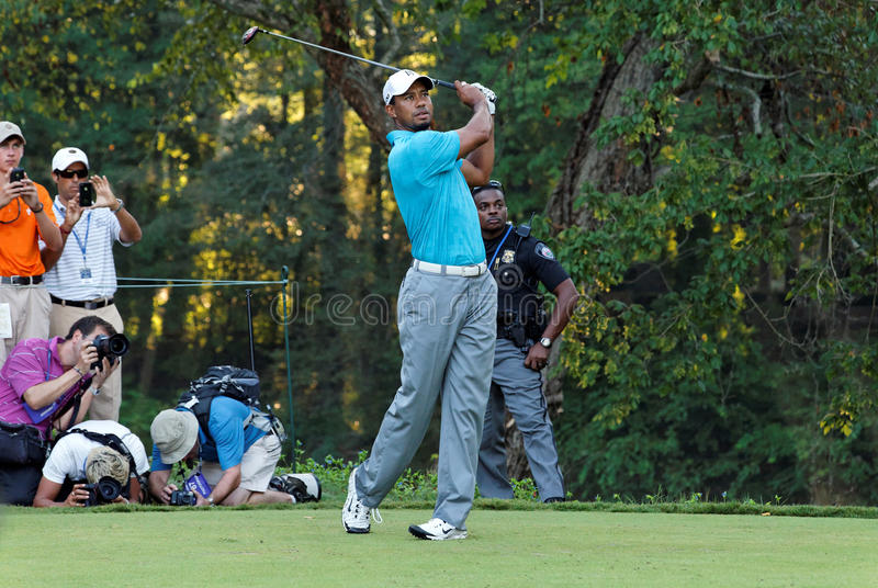 Tiger Woods. Johns Creek, Georgia, USA - August 10, 2011: Tiger Woods takes a shot during practice rounds at the 2011 PGA Championship tournament stock photos