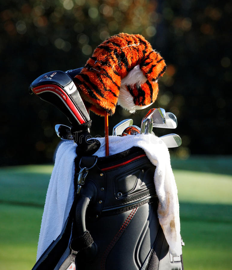 Tiger Woods. Johns Creek, Georgia, USA - August 10, 2011: Tiger Woods' golf bag sits on the course during practice rounds at the 2011 PGA Championship tournament royalty free stock photos
