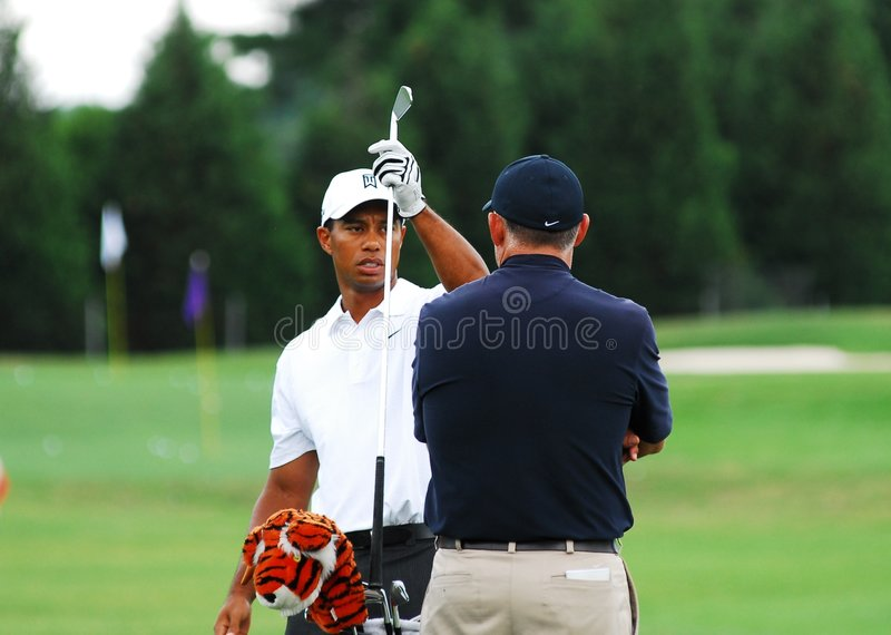 Tiger Woods. Get in a practice round before tournament play royalty free stock photo