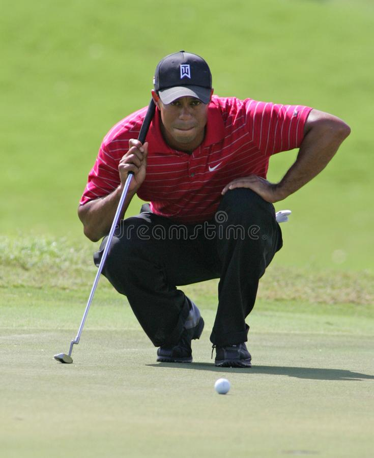 Tiger Woods at Doral in Miami. Tiger Woods competing in the final round of the World Golf Championships - CA Championship at Doral Country Club in Doral, Florida stock photo