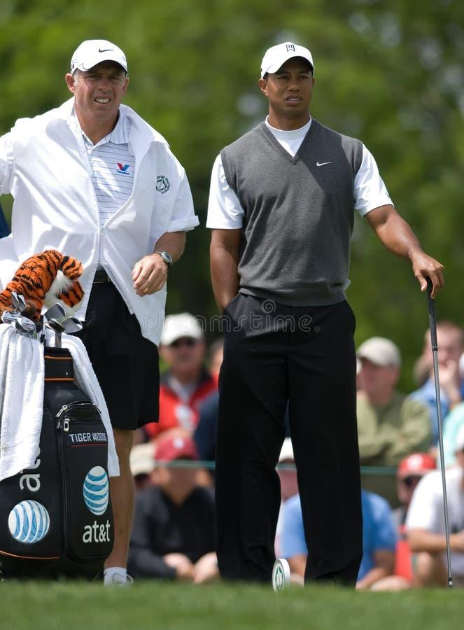 Tiger Woods e caddie Steve Williams imagens de stock