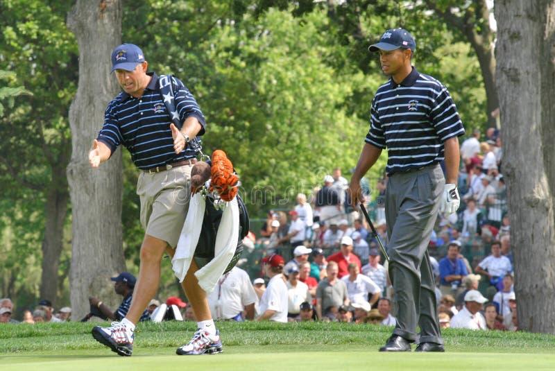 Tiger Woods et Steve Williams images stock