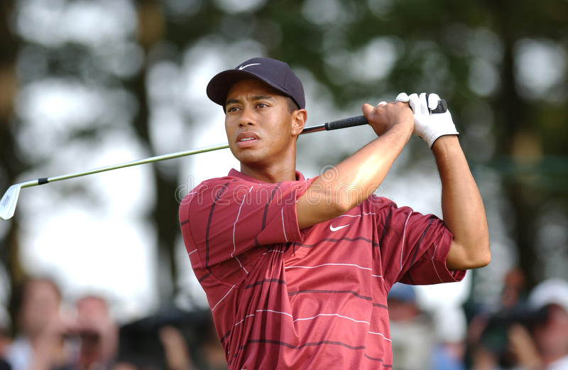 Tiger Woods. Famed Professional golfer Tiger Woods. Image taken from color slide stock photography