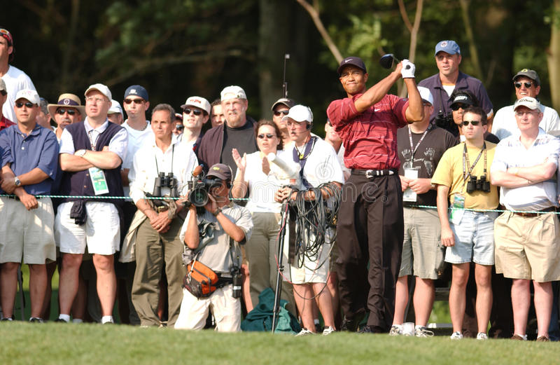 Tiger Woods. Famed Professional golfer Tiger Woods. Image taken from color slide stock photo