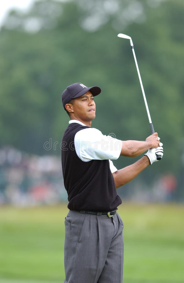 Tiger Woods. Famed Professional golfer Tiger Woods at the 2002 U.S. Open. Image taken from color slide stock photos