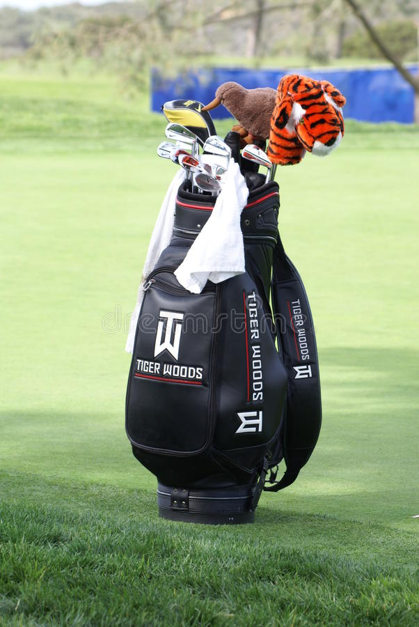 Tiger Woods Golf Bag. Professional Golfer Tiger Woods Golf Bag sitting on the green. It has his signature tiger club cover, as well as a kiwi club cover. His royalty free stock photos