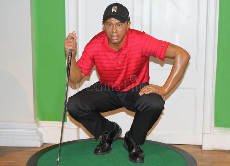 Tiger Woods at Madame Tussaud's. Tiger Woods wax statue at the famous Madame Tussaud's museum in London royalty free stock images