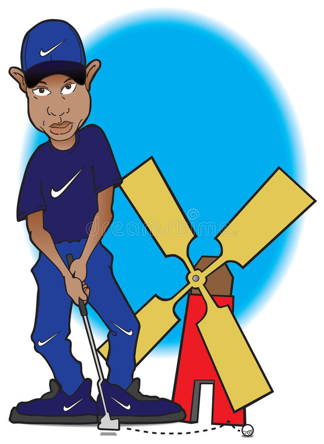 Tiger Woods at miniature golf course. Tiger Woods missing a shot at a miniature golf course stock illustration