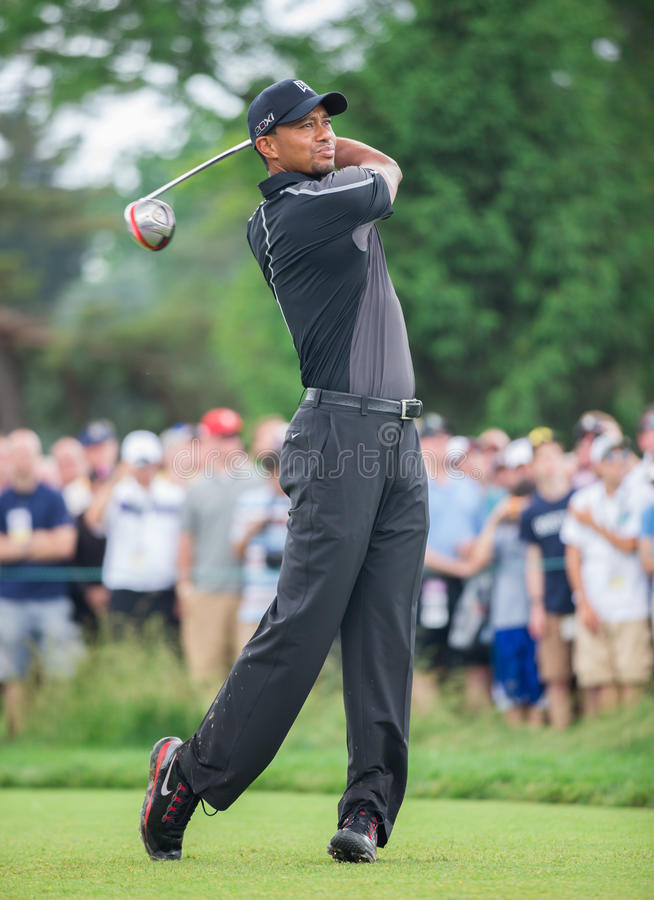 Tiger Woods på US Open 2013 arkivfoto