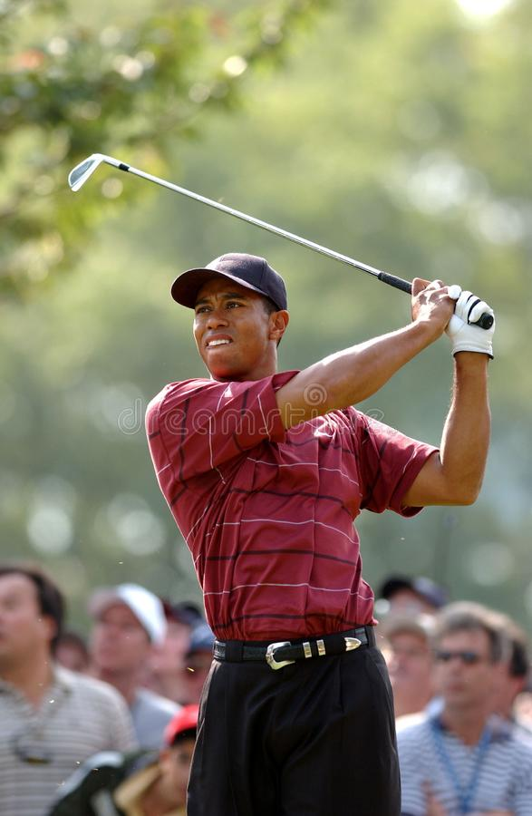 TIGER WOODS-US OPEN 2002. Tiger Woods watching his shot after hitting the golf ball royalty free stock photography