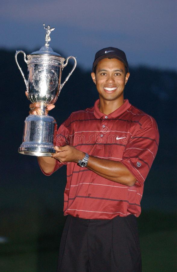 Tiger Woods Professional Golfer. Tiger Woods winner at the US Open in 2002 is an American professional golfer who is among the most successful golfers of all stock photo