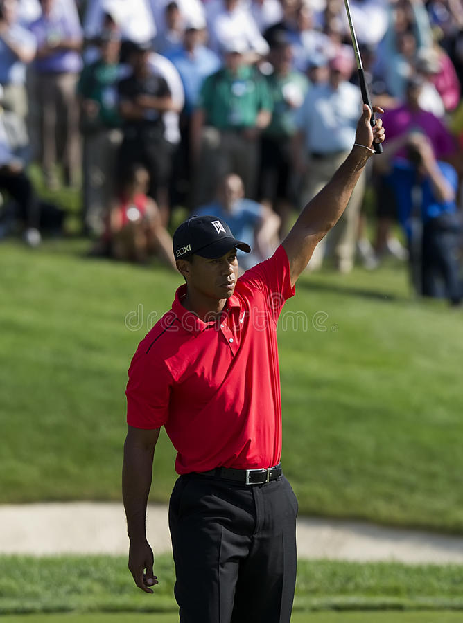 Tiger Woods wins Memorial. Tiger Woods celebrating after winning his 5th championship at the Memorial Tournament in Dublin, OH stock photo