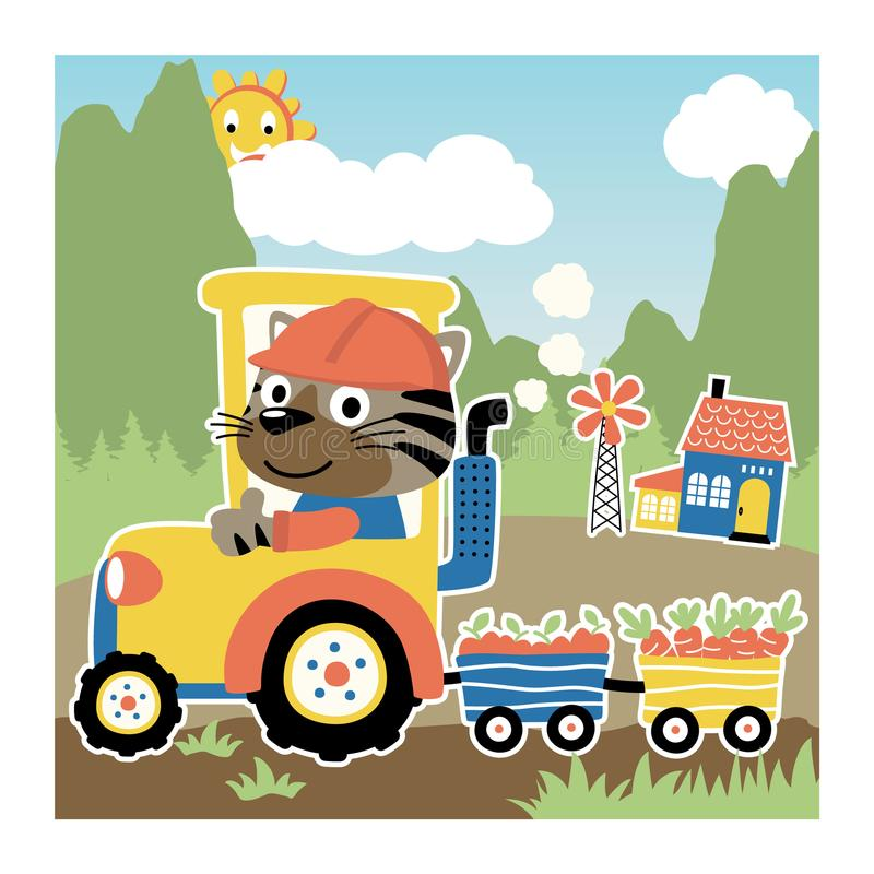 Tiger on yellow tractor. Cute tiger driving tractor on mountains background. Vector cartoon illustration, no mesh, vector on eps 10 royalty free illustration