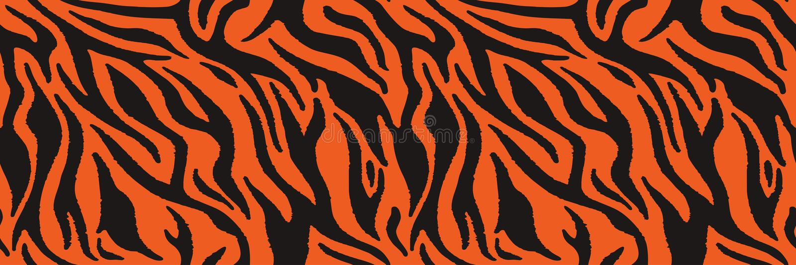 Tiger or zebra fur repeating texture. Animal skin stripes, jungle wallpapers. Seamless vector pattern royalty free illustration
