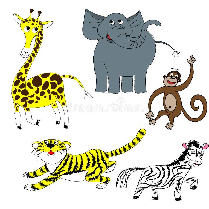 Tiger zoodjur uppsättning, giraff, schimpans, elefant, sebravektorkonst, barns teckningar, klotterstil, gulliga djur uppsättning, stock illustrationer