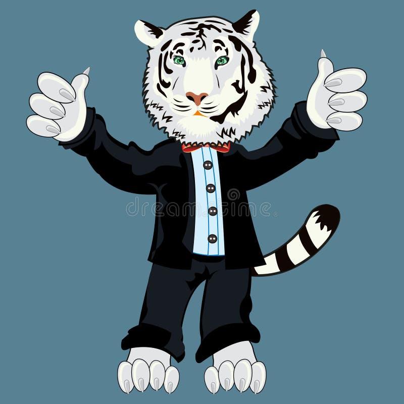 Tigeralbino in der Klage lizenzfreie abbildung