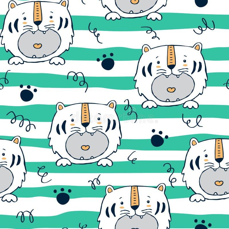 Tigerbaby showermodell med band stock illustrationer