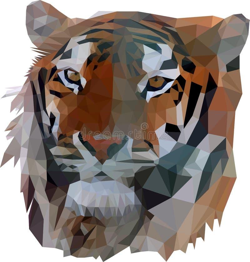 Tigergesichtsporträt Niedriges Polydesign Polygonaler Illustrationsvektor ENV lizenzfreie abbildung
