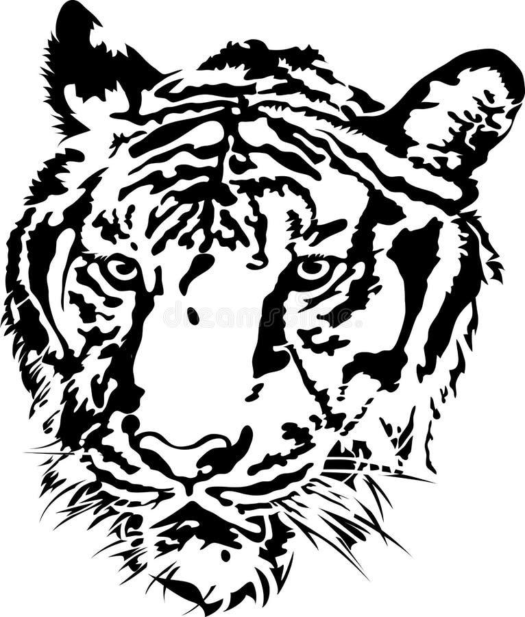 Tigerhauptschattenbild. stock abbildung