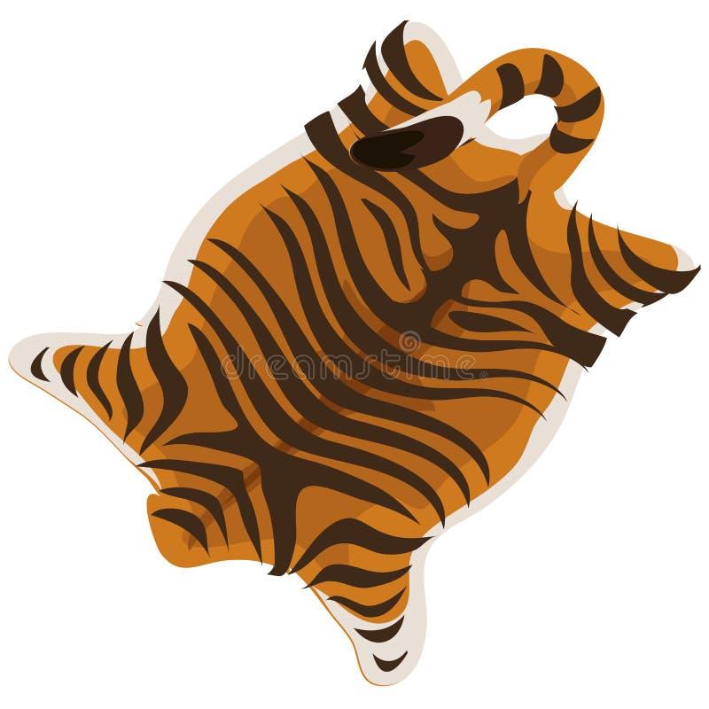 Tigerhud som en matta också vektor för coreldrawillustration royaltyfri illustrationer