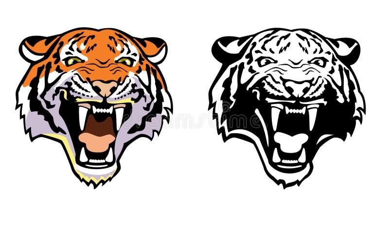 Tigerhuvud stock illustrationer