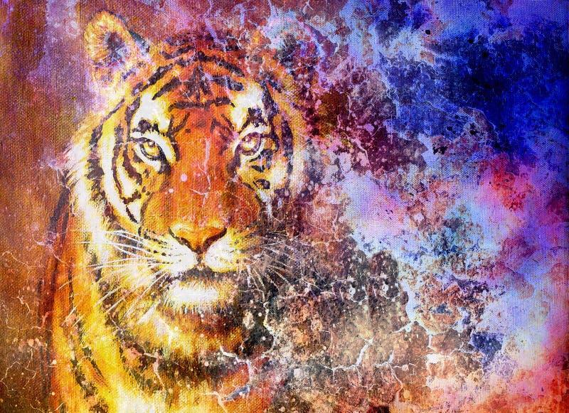 tigerhuvud i utrymme med stjärnor, datorcollage royaltyfri illustrationer