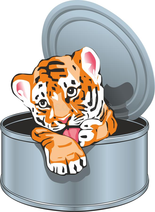 Tigerjunges in der Blechdose stock abbildung