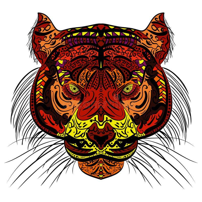 Tigerkopf färbte Hand gezeichnetes zentangle Design lizenzfreie abbildung