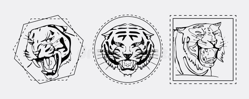 Tigermündungs-Emblemsatz vektor abbildung