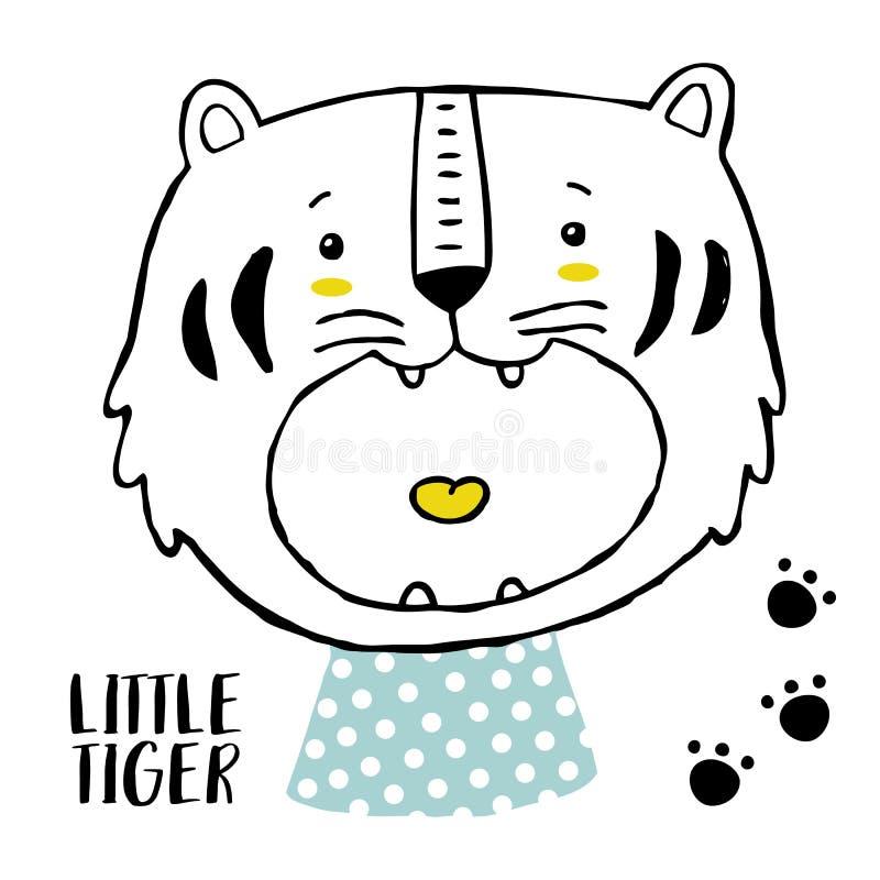 Tigern behandla som ett barn trycket vektor illustrationer