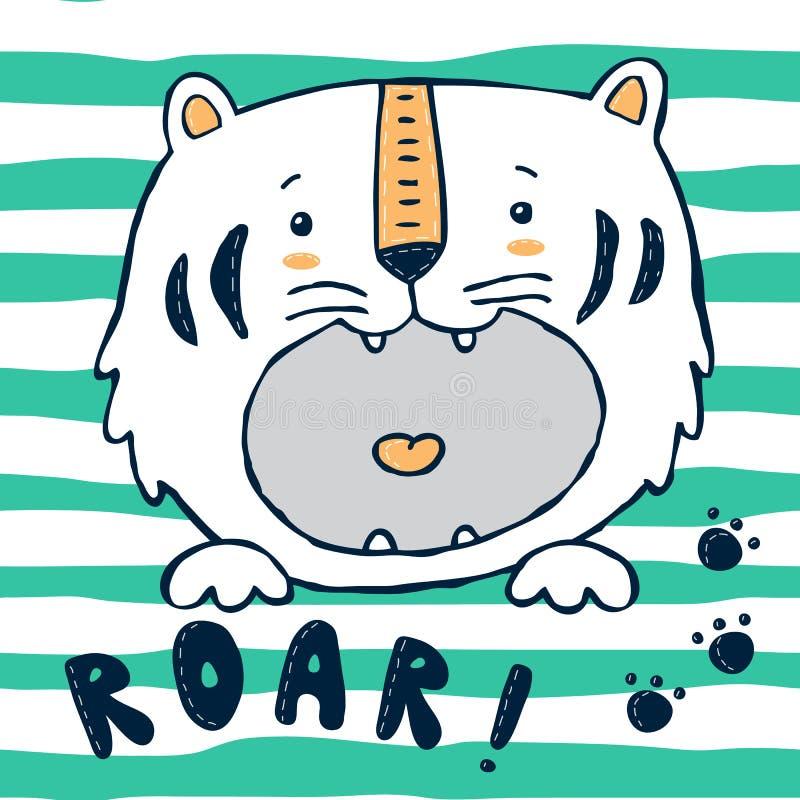 Tigern behandla som ett barn trycket med band stock illustrationer