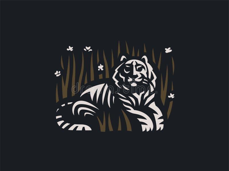 Tigern ligger i gräset vektor illustrationer