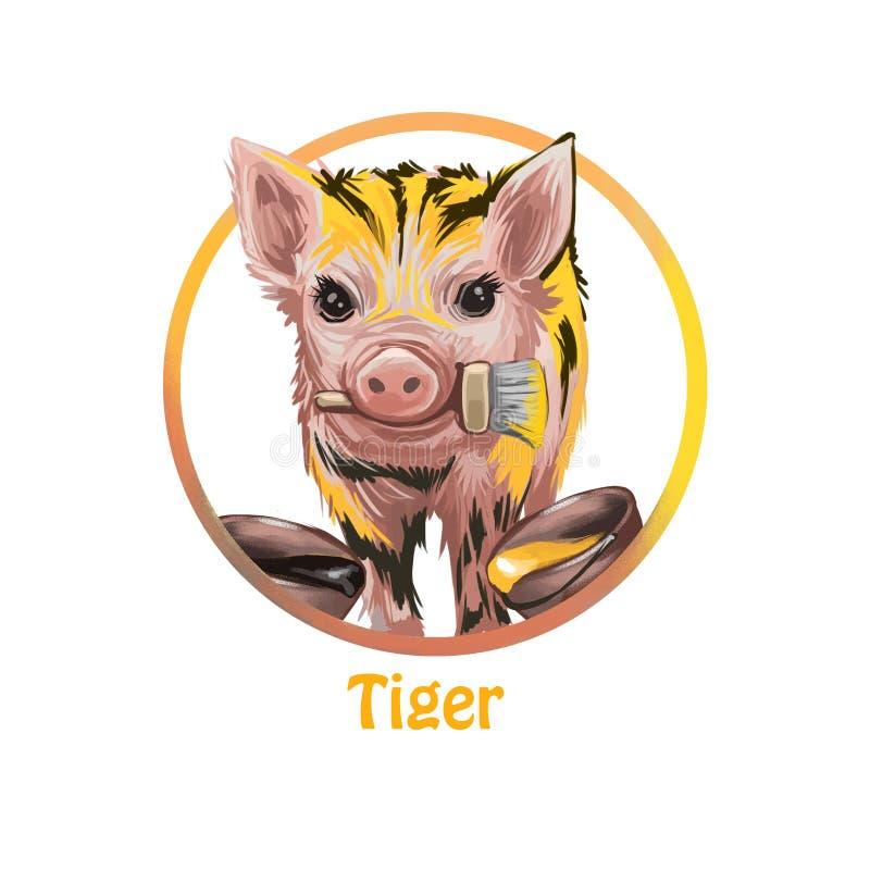 Tigerplakat mit digitaler Kunst des chinesischen Tierkreistext-Namens Lokalisiertes Plakat des Schweins Holdingbürste des wilden  stock abbildung
