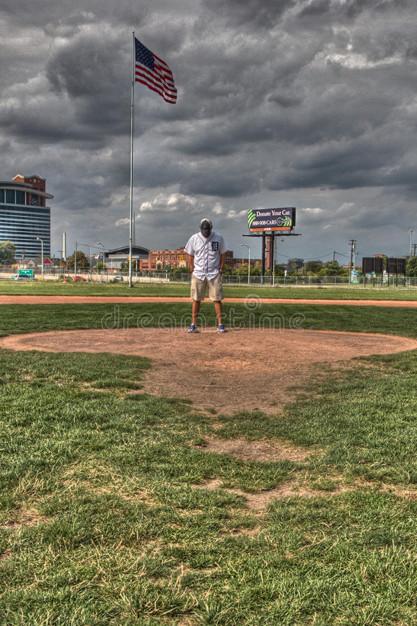Tigers fan on the mound of the old Tiger Stadium stock photography