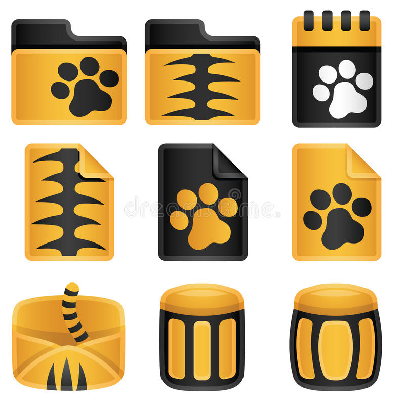 Tigers Icon Set. Tigers toon icons set for web royalty free illustration