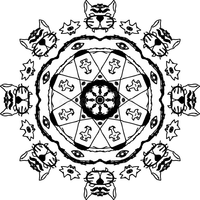 Tigers rebirth with the eight eyes mandala. In black and white vector illustration