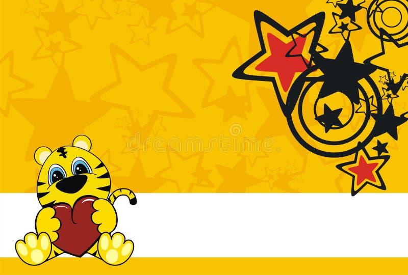 Tigerschätzchen-Karikaturhintergrund lizenzfreie abbildung