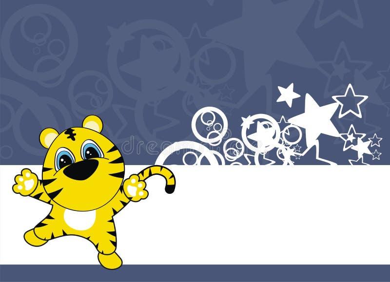 Tigerschätzchen-Karikaturhintergrund stock abbildung