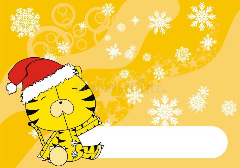Tigerschätzchenkarikatur-Weihnachtshintergrund lizenzfreie abbildung