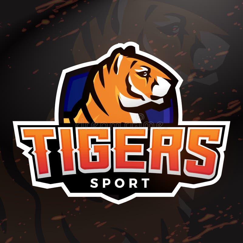 Tigerschildsport-Maskottchenschablone Fußball-, Basketball- oder Baseballfleckendesign Premade Collegeligainsignien vektor abbildung