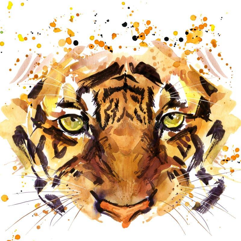 TigerT-tröjadiagram, tiger synar illustrationen med texturerad bakgrund för färgstänk vattenfärgen stock illustrationer