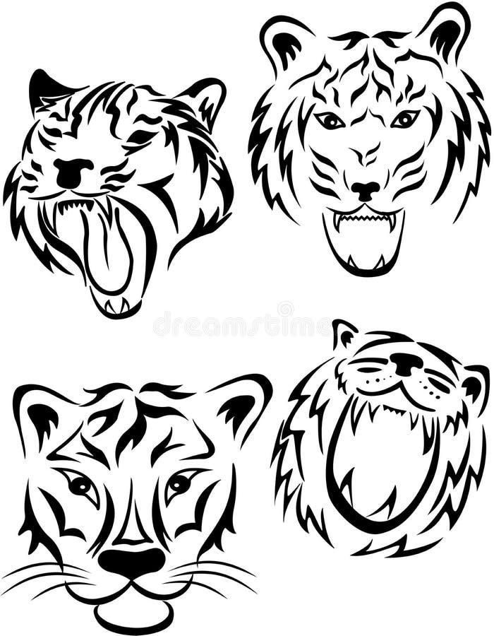 Tigertatuering stock illustrationer