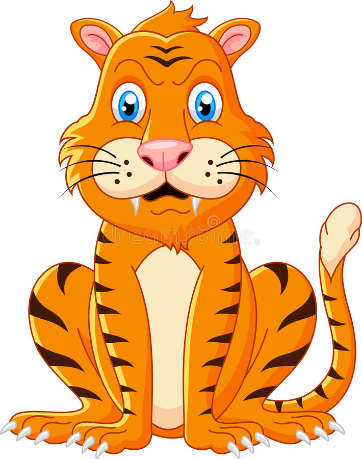 Tigertecknad filmsammanträde stock illustrationer